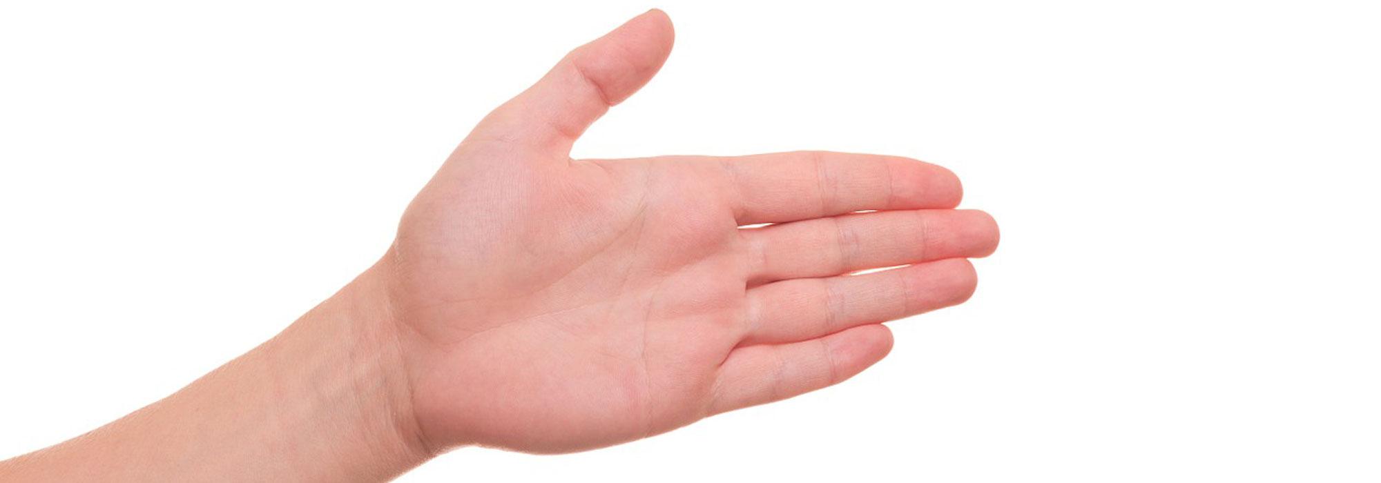 foto af fremstrakt hånd