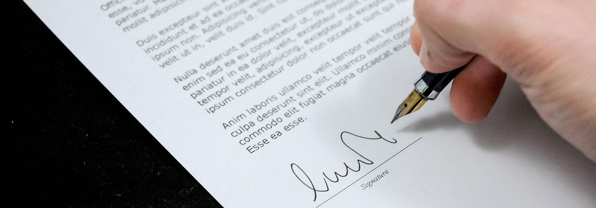 underskriver testamente